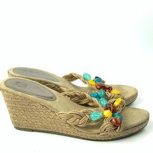 NYC CO  sandals wedges 8 gem woven Espadrilles